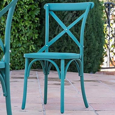 Winston Porter Blakemore Vintage Style Patio Dining Chair (Set of 2); Green