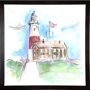 Highland Dunes 'Montauk Lighthouse' Print; Cafe Espresso Wood Framed Paper