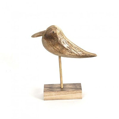 Highland Dunes Alvah Wooden Bird On Stand Figurine; 6.9'' H x 6.7'' W x 1.9'' D