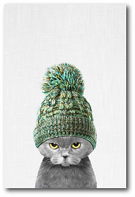 Ebern Designs 'Kitten Wearing a Hat' Graphic Art Print on Wrapped Canvas