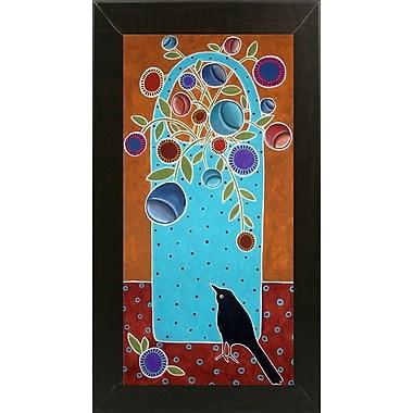 Winston Porter 'Basket and Bird' Print; Brazilian Walnut Wood Medium Framed Paper