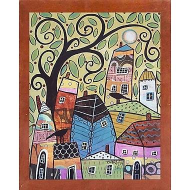 Winston Porter 'Small Village 2' Print; Canadian Walnut Wood Medium Framed Paper