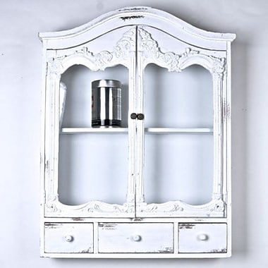 August Grove Grove City Wooden Wall Shelf w/ Drawers; White