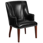 Red Barrel Studio Deontaye Leather Guest Chair; Black