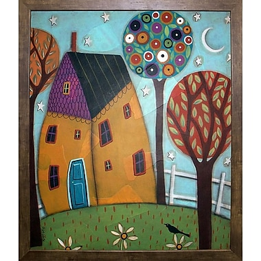 Winston Porter 'House Trees and Daisies' Print; Cafe Mocha Framed Paper