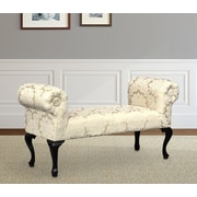 Charlton Home Deford Cabriole Legs Upholstered Bench; Madison Straw