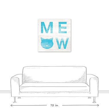 East Urban Home 'Meow Distressed' Textual Art on Canvas in Blue; 30'' H x 30'' W