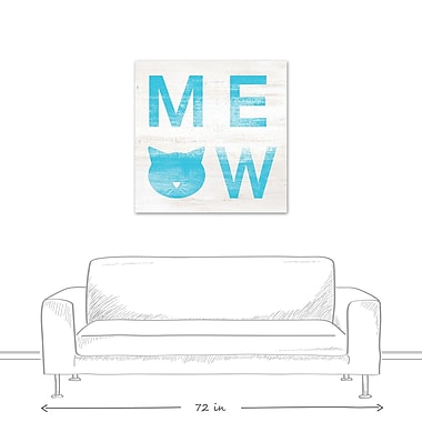 East Urban Home 'Meow Distressed' Textual Art on Canvas in Blue; 36'' H x 36'' W