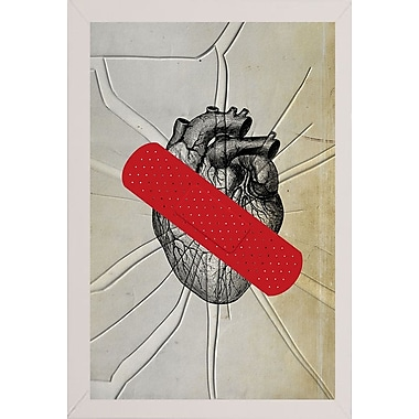 East Urban Home 'First Aid' Framed Graphic Art Print; White Wood Medium Framed Paper