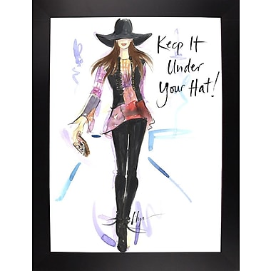 East Urban Home 'Keep it Under Your Hat' Print; Black Wood Large Framed Paper