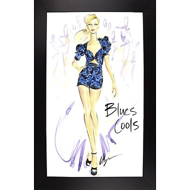 East Urban Home 'Blues Cools' Print; Black Wood Large Framed Paper