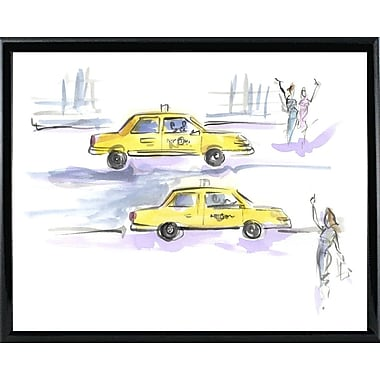 East Urban Home 'Taxi Taxi' Print; Black Metal Framed Paper