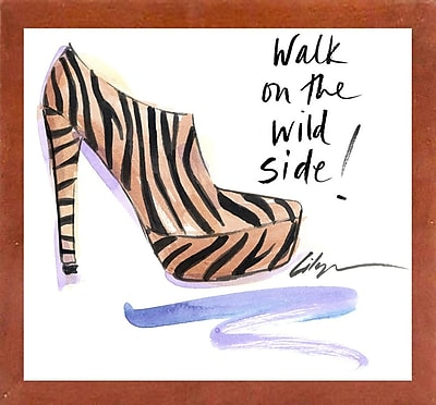 East Urban Home 'Walk on the Wild Side' Print; Canadian Walnut Wood Medium Framed Paper