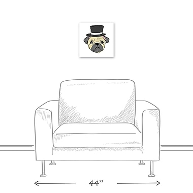 East Urban Home 'Pug w/ Top Hat' Graphic Art Print on Canvas; 12'' H x 12'' W