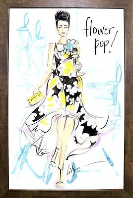 East Urban Home 'Flower Pop' Print; Cafe Mocha Framed Paper