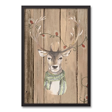 The Holiday Aisle 'Christmas Deer' Framed Graphic Art Print on Canvas; 31.73'' H x 21.73'' W
