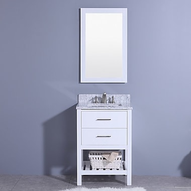Breakwater Bay Marhill 25'' Single Bathroom Vanity Set w/ Mirror; White
