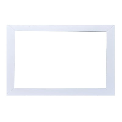 Brayden Studio Zeno Glass Frame Bathroom Vanity Mirror; White