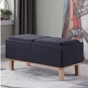 Ophelia & Co. Rafal Upholstered Storage Bench; Navy/Blue