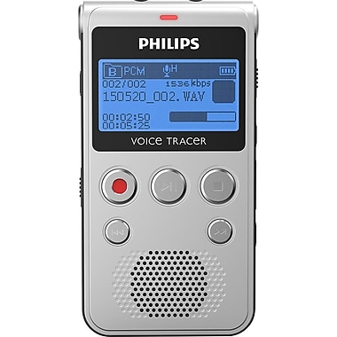 Philips 1300 Voice Tracer Audio Recorder Black Silver, (DVT1300)