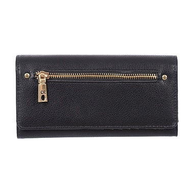 Club Rochelier Ladies Trifold Clutch Wallet with Gusset, Black (CL10365-3-BK)