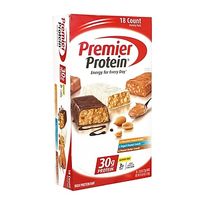 Premier Protein High Protein Bars Variety Pack, 2.53 oz., 18 Count (3425) 24148320