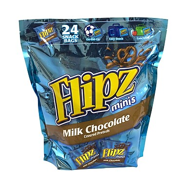 Flipz Mini Chocolate Covered Pretzels Snack Bags, 24 Count (00032)