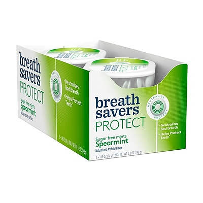 BREATH SAVERS Protect Mints in Spearmint Flavor, .88 oz, 6 Count