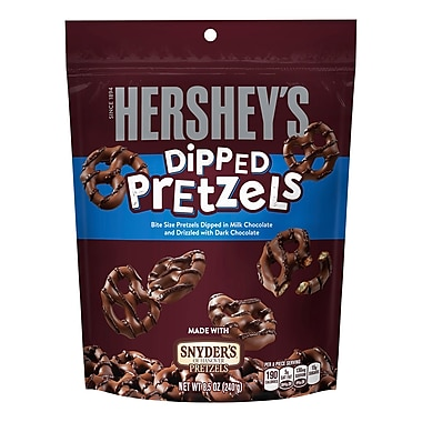 HERSHEY'S Milk Chocolate Dipped Pretzels Pouch, 8.5 oz., 6 Count (21464)