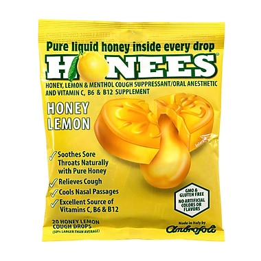 HONEES Cough Drops Honey Lemon, 20 Count, 6 Pack (404)