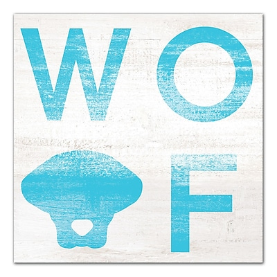 East Urban Home 'Woof Distressed' Graphic Art Print on Wrapped Canvas in Blue; 20'' H x 20'' W