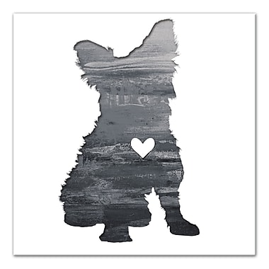 East Urban Home 'Ink Silhouette Yorkie' Graphic Art Print on Wrapped Canvas in Gray; 30'' H x 30'' W