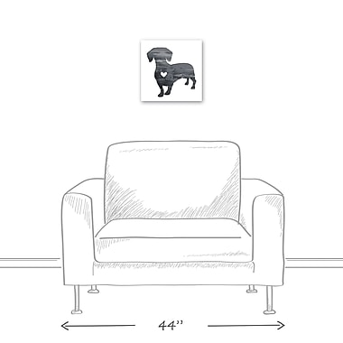 East Urban Home 'Ink Silhouette Dachshund' Graphic Art Print on Wrapped Canvas in Gray