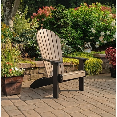 Highland Dunes Altoga Poly Adirondack Chair; Weathered Wood/Black