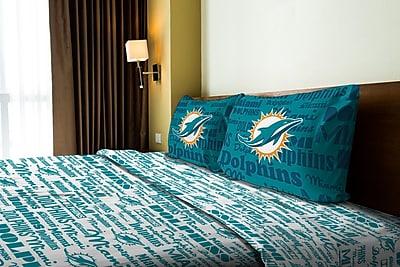 Northwest Co. NFL Dolphins Anthem Microfiber Sheet Set; Full