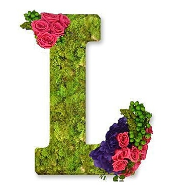 One Allium Way Floral Embellished Monogram Letter L 12'' Moss Wreath; Bright