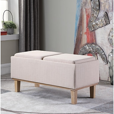 Ophelia & Co. Rafal Upholstered Storage Bench; Cream