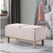 Ophelia & Co. Rafal Upholstered Storage Bench; Cream