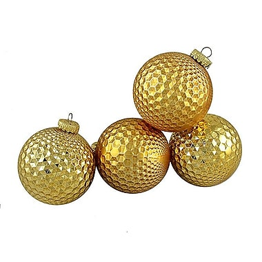 The Holiday Aisle Prism Textured Shatterproof Christmas Ball Ornament (Set of 4); Gold