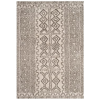 Williston Forge Cammie Ivory/Gray Area Rug; Rectangle 6' x 9'