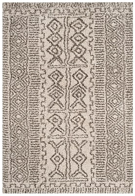 Williston Forge Cammie Ivory/Gray Area Rug; Square 7'