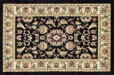 Fleur De Lis Living Willard Black/Light Beige Area Rug; Rectangle 2'2'' x 3'3''