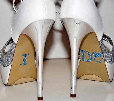 Unik Occasions Rhinestone I Do Ring Wedding Shoe Stickers; Light Blue