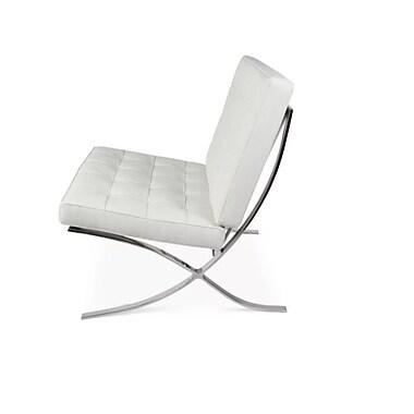Plata Import – Chaise Cross Barcelona, cuir blanc à l'avant, noir (LS-5010-W)