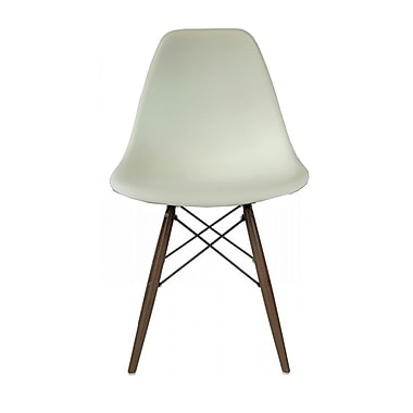 Plata Import Eiffel Chair, White Seat, Walnut Wood Legs (PC 016W