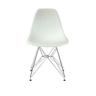 Plata Import – Chaise Eiffel, siège blanc, pattes chromées (PC-016-WHITE)
