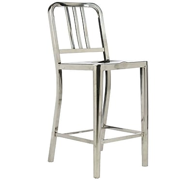 Plata Import Navy Counter Stool, Counter Height, Polished Stainless Steel (C-2201-26-POLISHED)