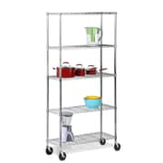 Honey Can Do 5-Tier Shelving Unit with Casters, Chrome (SHFX02105)