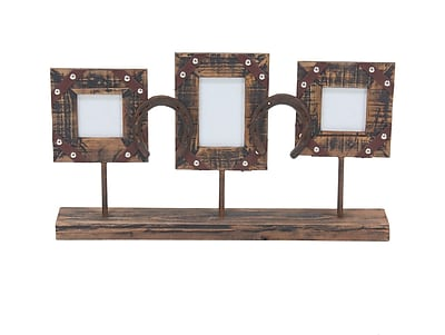 Loon Peak Bayonville Rustic 3-Opening Wood and Iron Picture Frame w/ Stand (Set of 2)