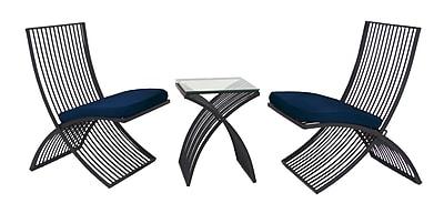 Mercer41 Wilt Modern Iron and Fabric Rectangular Latticed 3 Piece Conversation Set